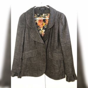 Ellen Tracy Wool Blend Ruffle Blazer Brown size 4